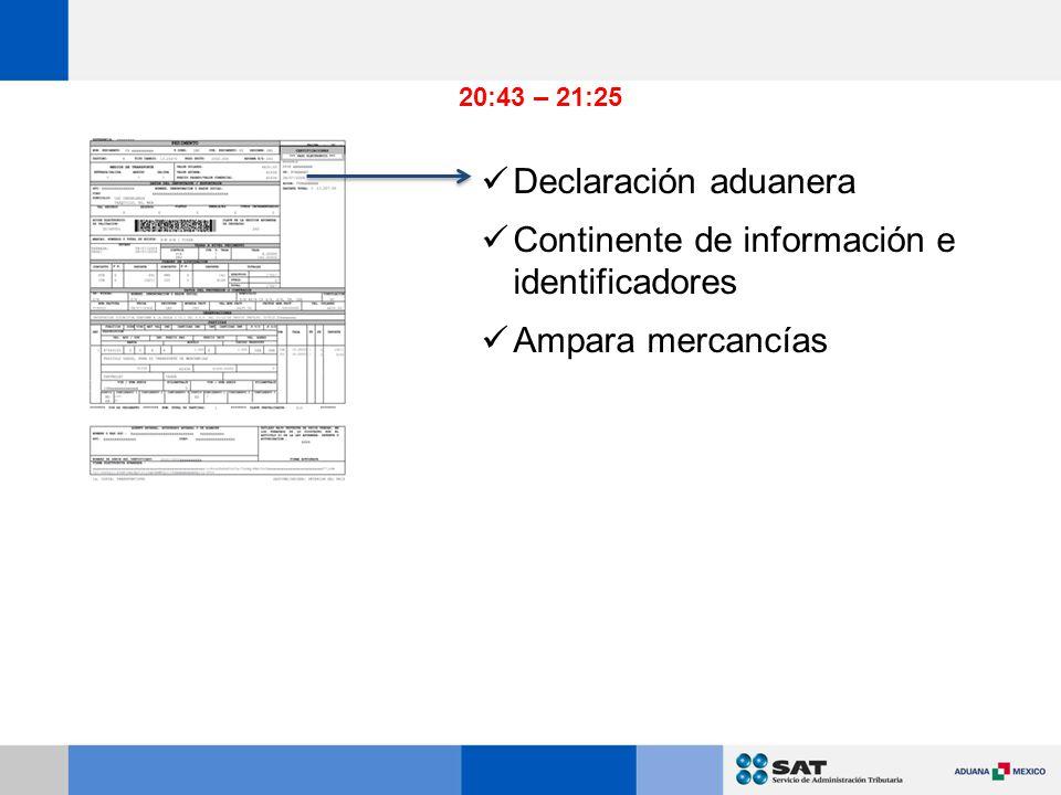 Declaración aduanera Continente de información e identificadores Ampara mercancías 20:43 – 21:25
