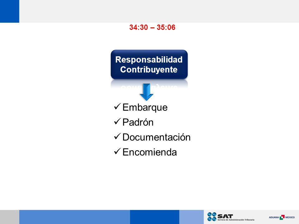 Embarque Padrón Documentación Encomienda 34:30 – 35:06