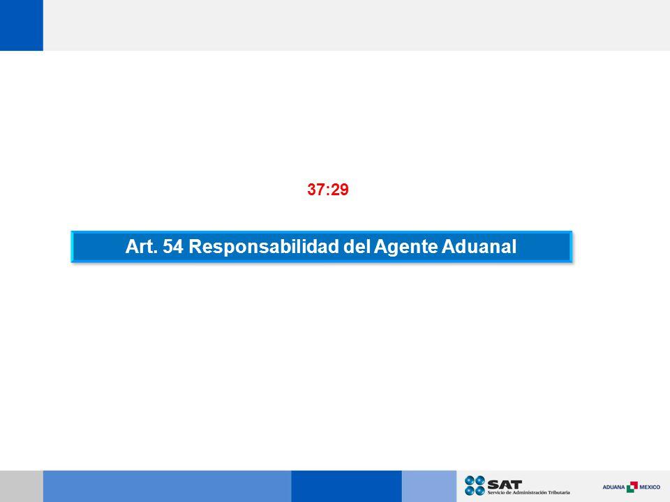 Art. 54 Responsabilidad del Agente Aduanal 37:29