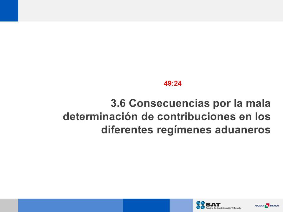 3.6 Consecuencias por la mala determinación de contribuciones en los diferentes regímenes aduaneros 49:24