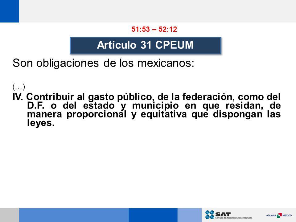Artículo 31 CPEUM Son obligaciones de los mexicanos: (…) IV.