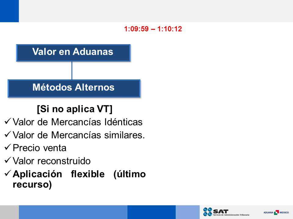 Métodos Alternos [Si no aplica VT] Valor de Mercancías Idénticas Valor de Mercancías similares.