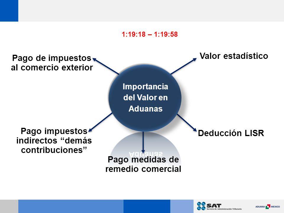 Valor estadístico Deducción LISR Pago medidas de remedio comercial Pago impuestos indirectos demás contribuciones Pago de impuestos al comercio exterior 1:19:18 – 1:19:58