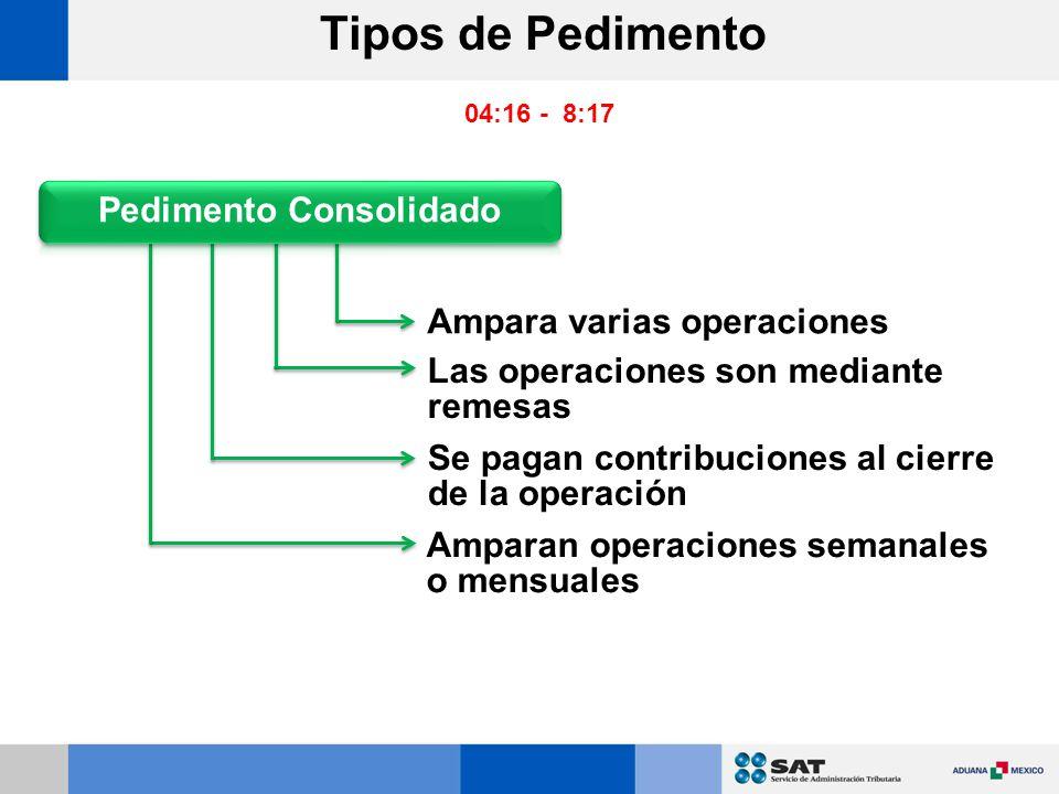 Ampara varias operaciones Las operaciones son mediante remesas Se pagan contribuciones al cierre de la operación Amparan operaciones semanales o mensuales Tipos de Pedimento 04:16 - 8:17
