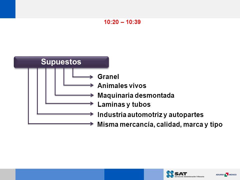 Granel Animales vivos Maquinaria desmontada Laminas y tubos Industria automotriz y autopartes Misma mercancía, calidad, marca y tipo 10:20 – 10:39