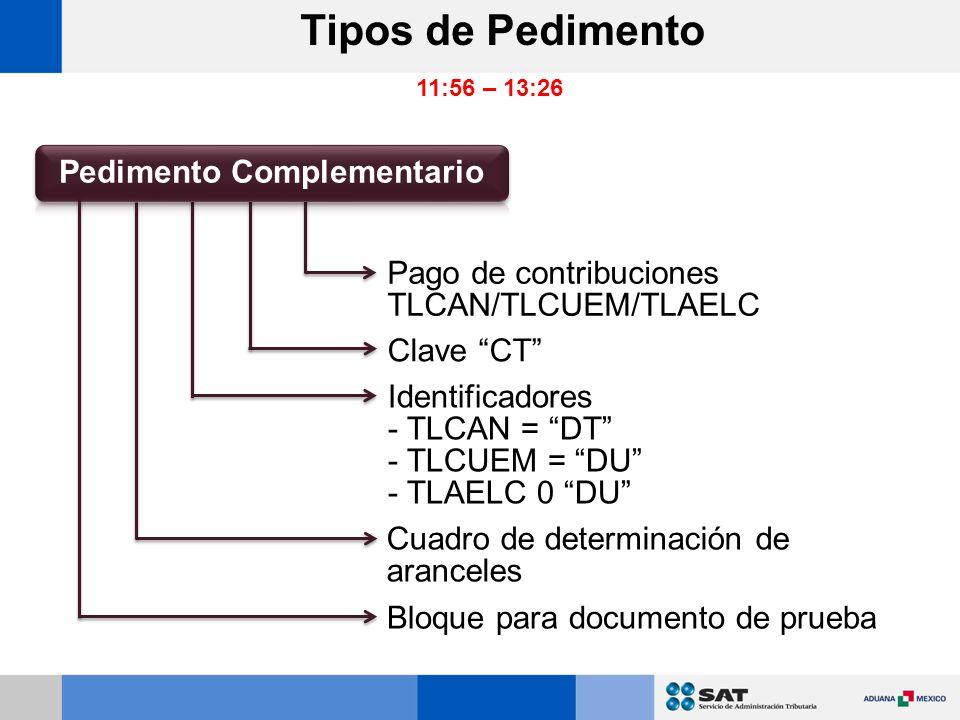 Pago de contribuciones TLCAN/TLCUEM/TLAELC Clave CT Identificadores - TLCAN = DT - TLCUEM = DU - TLAELC 0 DU Cuadro de determinación de aranceles Bloque para documento de prueba Tipos de Pedimento 11:56 – 13:26