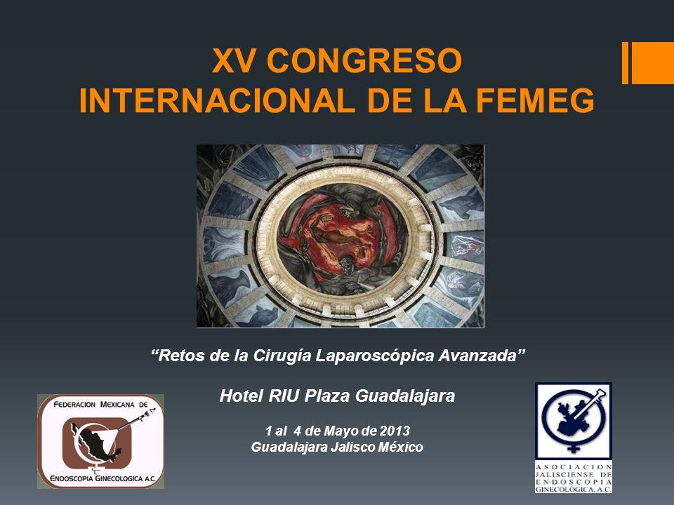 XV CONGRESO INTERNACIONAL DE LA FEMEG Retos de la Cirugía Laparoscópica Avanzada Hotel RIU Plaza Guadalajara 1 al 4 de Mayo de 2013 Guadalajara Jalisc