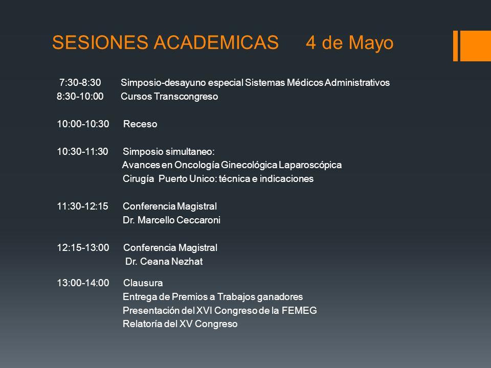 SESIONES ACADEMICAS 4 de Mayo 7:30-8:30 Simposio-desayuno especial Sistemas Médicos Administrativos 8:30-10:00 Cursos Transcongreso 10:00-10:30 Receso