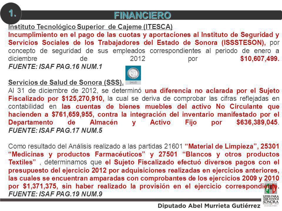 Instituto Tecnológico Superior de Cajeme (ITESCA) Incumplimiento en el pago de las cuotas y aportaciones al Instituto de Seguridad y Servicios Sociale