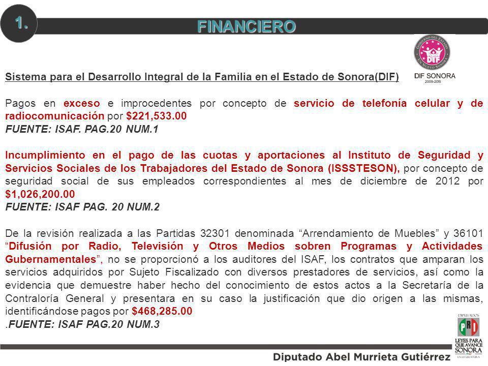 Sistema para el Desarrollo Integral de la Familia en el Estado de Sonora(DIF) Pagos en exceso e improcedentes por concepto de servicio de telefonía ce