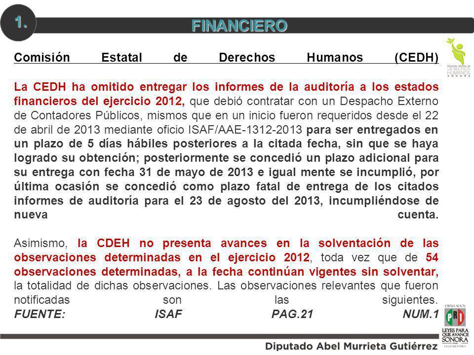 Comisión Estatal de Derechos Humanos (CEDH) La CEDH ha omitido entregar los informes de la auditoría a los estados financieros del ejercicio 2012, que
