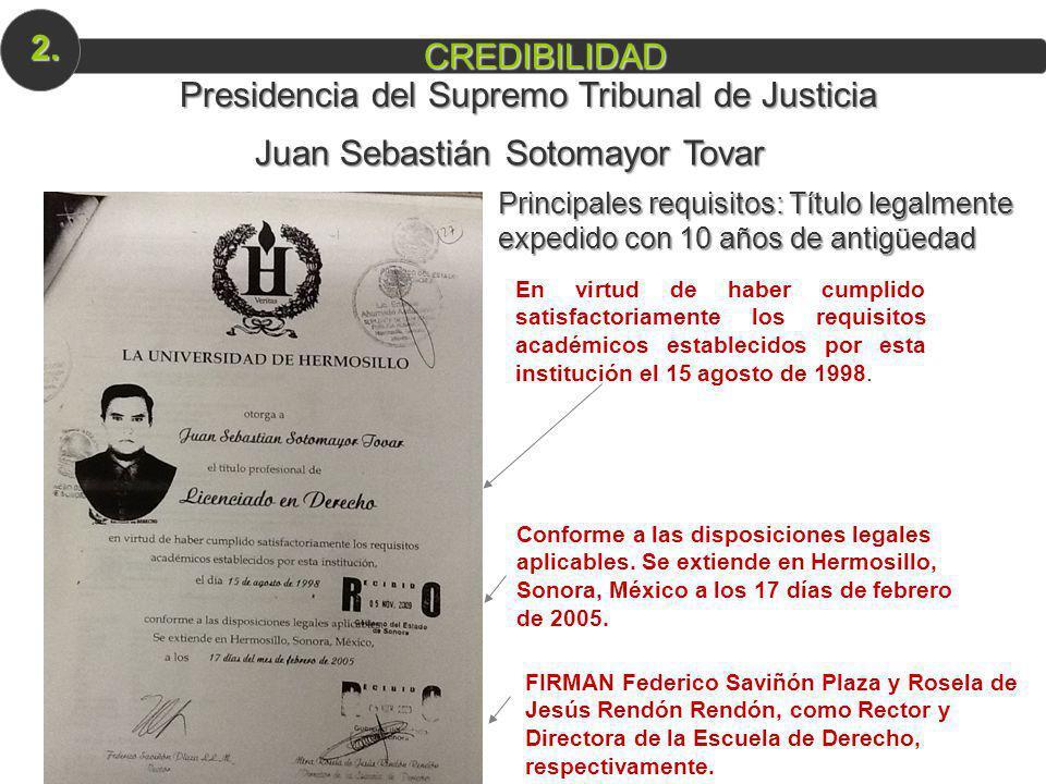 Juan Sebastián Sotomayor Tovar Principales requisitos: Título legalmente expedido con 10 años de antigüedad En virtud de haber cumplido satisfactoriam