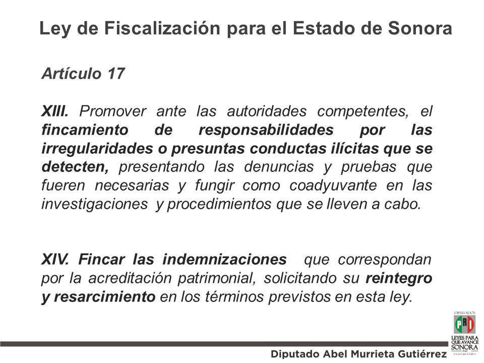 Artículo 17 XIII. Promover ante las autoridades competentes, el fincamiento de responsabilidades por las irregularidades o presuntas conductas ilícita
