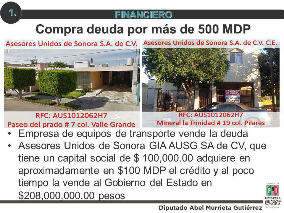 Compra deuda por más de 500 MDP Empresa de equipos de transporte vende la deuda Asesores Unidos de Sonora GIA AUSG SA de CV, que tiene un capital soci