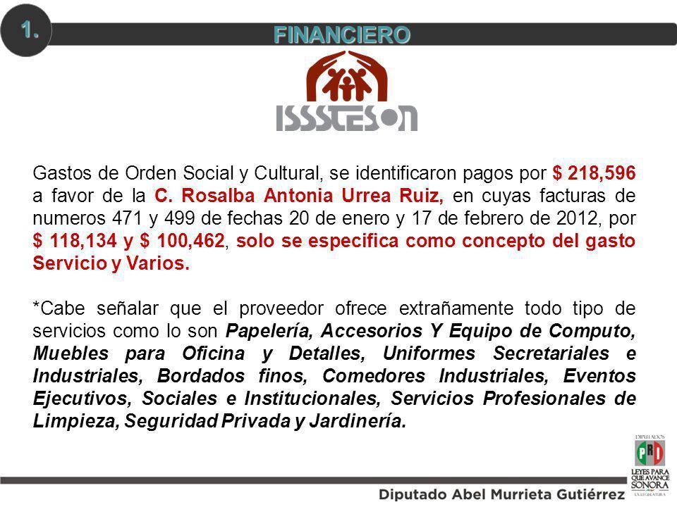 FINANCIERO 1. Gastos de Orden Social y Cultural, se identificaron pagos por $ 218,596 a favor de la C. Rosalba Antonia Urrea Ruiz, en cuyas facturas d