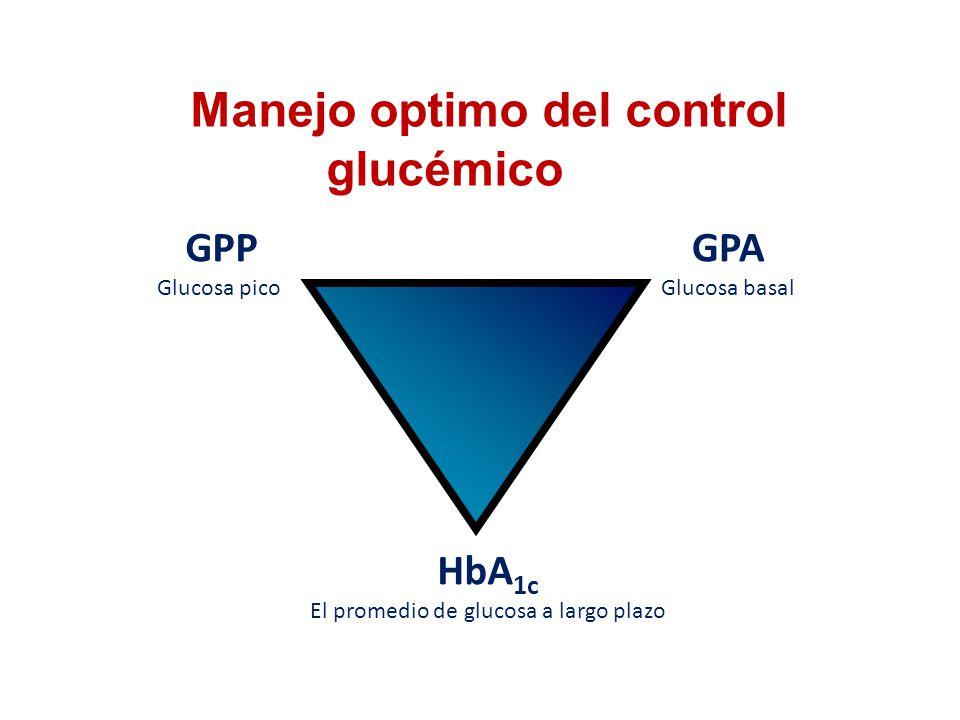Manejo optimo del control glucémico GPA Glucosa basal GPP Glucosa pico HbA 1c El promedio de glucosa a largo plazo
