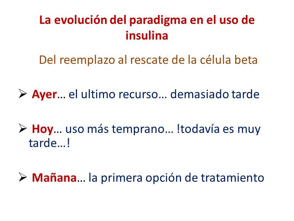 La evolución del paradigma en el uso de insulina Del reemplazo al rescate de la célula beta Ayer… el ultimo recurso… demasiado tarde Hoy… uso más temp