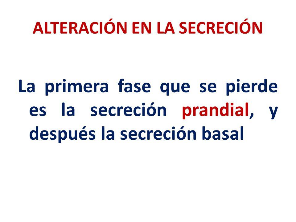 ALTERACIÓN EN LA SECRECIÓN La primera fase que se pierde es la secreción prandial, y después la secreción basal