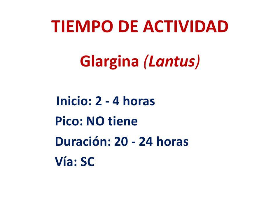 TIEMPO DE ACTIVIDAD Glargina (Lantus) Inicio: 2 - 4 horas Pico: NO tiene Duración: 20 - 24 horas Vía: SC