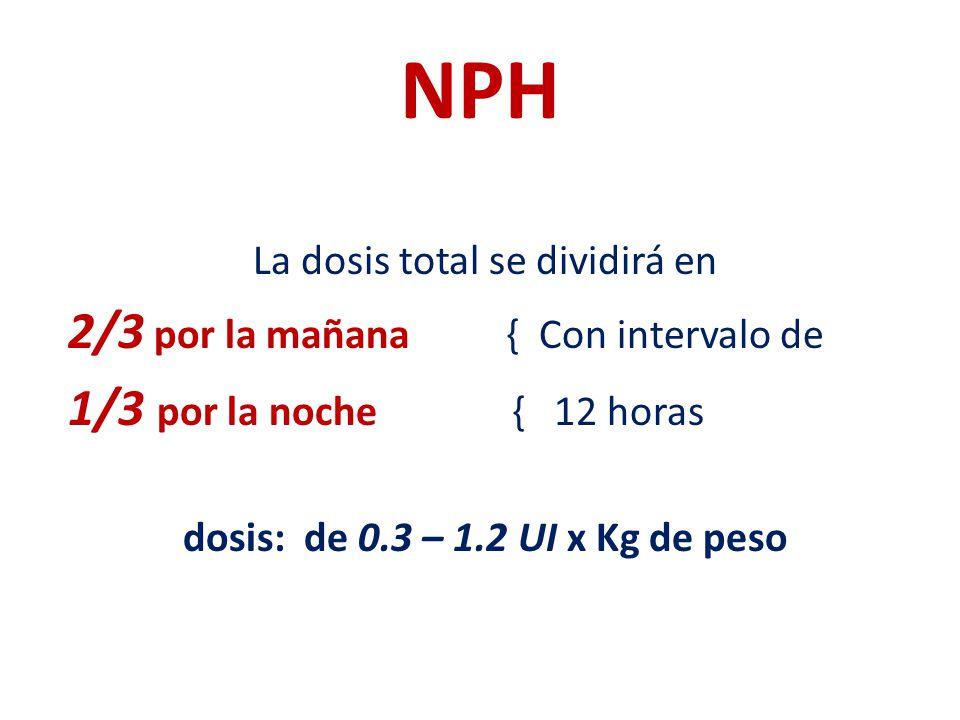 NPH La dosis total se dividirá en 2/3 por la mañana { Con intervalo de 1/3 por la noche { 12 horas dosis: de 0.3 – 1.2 UI x Kg de peso