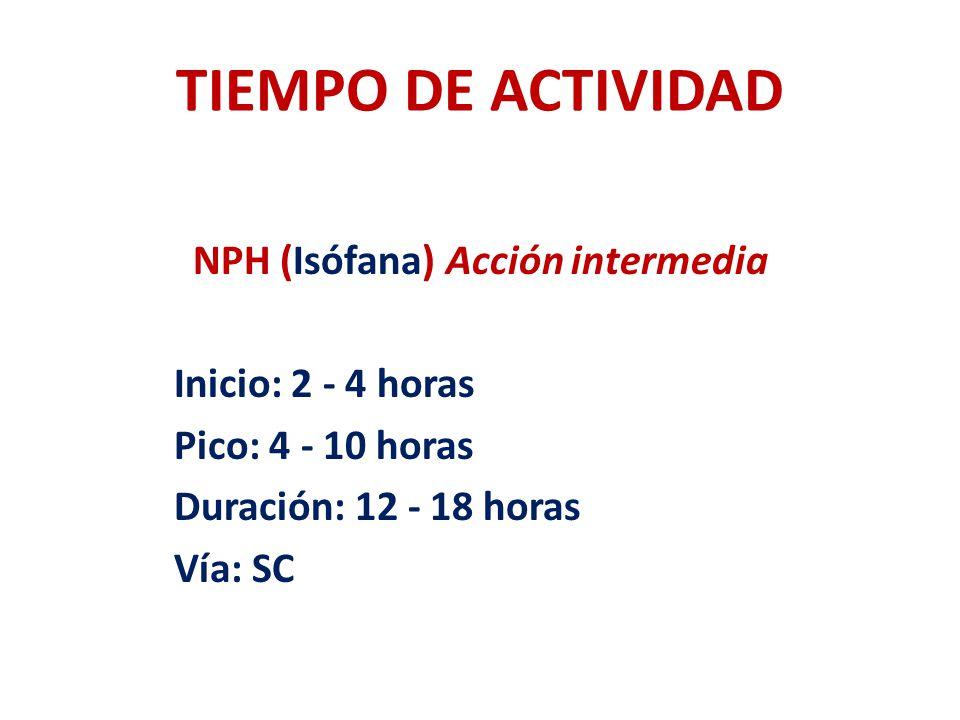 TIEMPO DE ACTIVIDAD NPH (Isófana) Acción intermedia Inicio: 2 - 4 horas Pico: 4 - 10 horas Duración: 12 - 18 horas Vía: SC