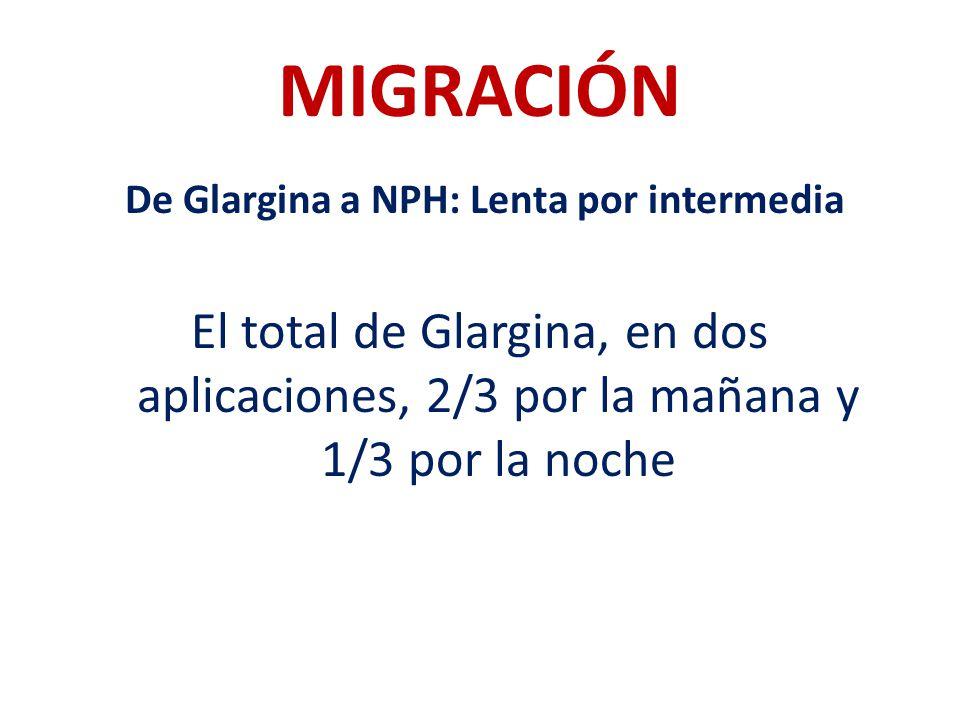 MIGRACIÓN De Glargina a NPH: Lenta por intermedia El total de Glargina, en dos aplicaciones, 2/3 por la mañana y 1/3 por la noche