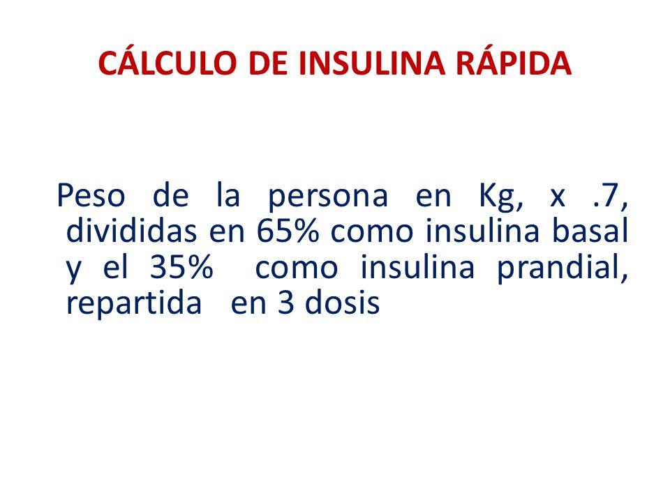 CÁLCULO DE INSULINA RÁPIDA Peso de la persona en Kg, x.7, divididas en 65% como insulina basal y el 35% como insulina prandial, repartida en 3 dosis
