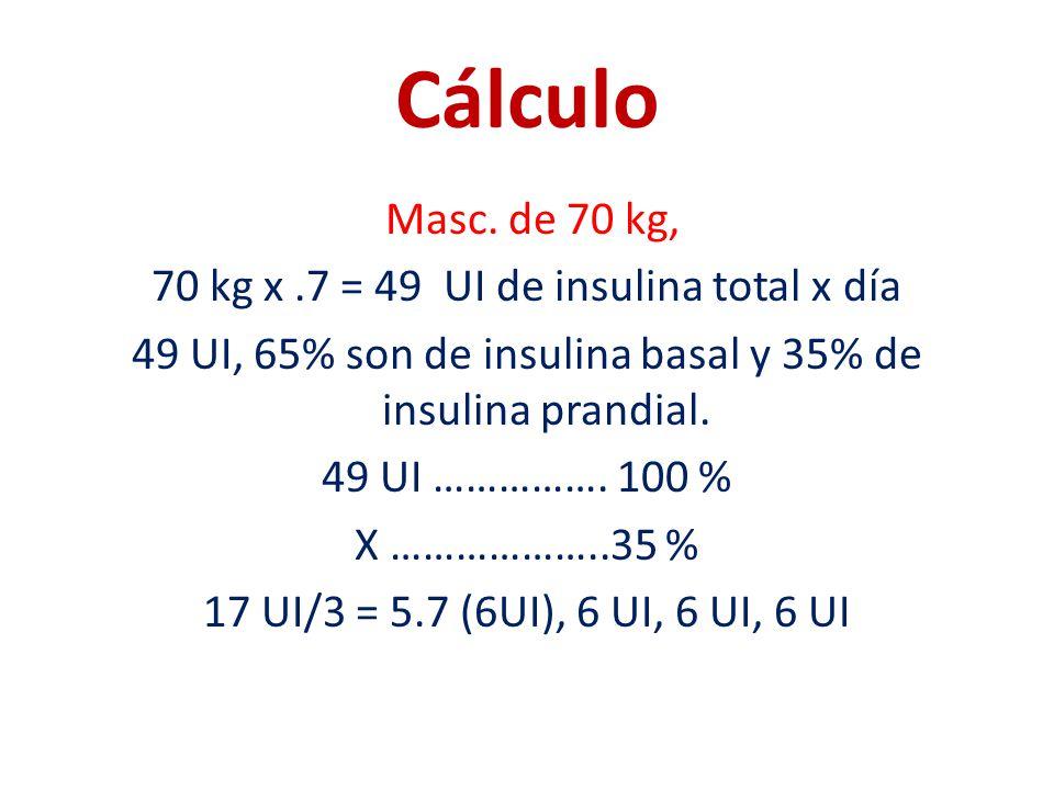 Cálculo Masc. de 70 kg, 70 kg x.7 = 49 UI de insulina total x día 49 UI, 65% son de insulina basal y 35% de insulina prandial. 49 UI ……………. 100 % X ……