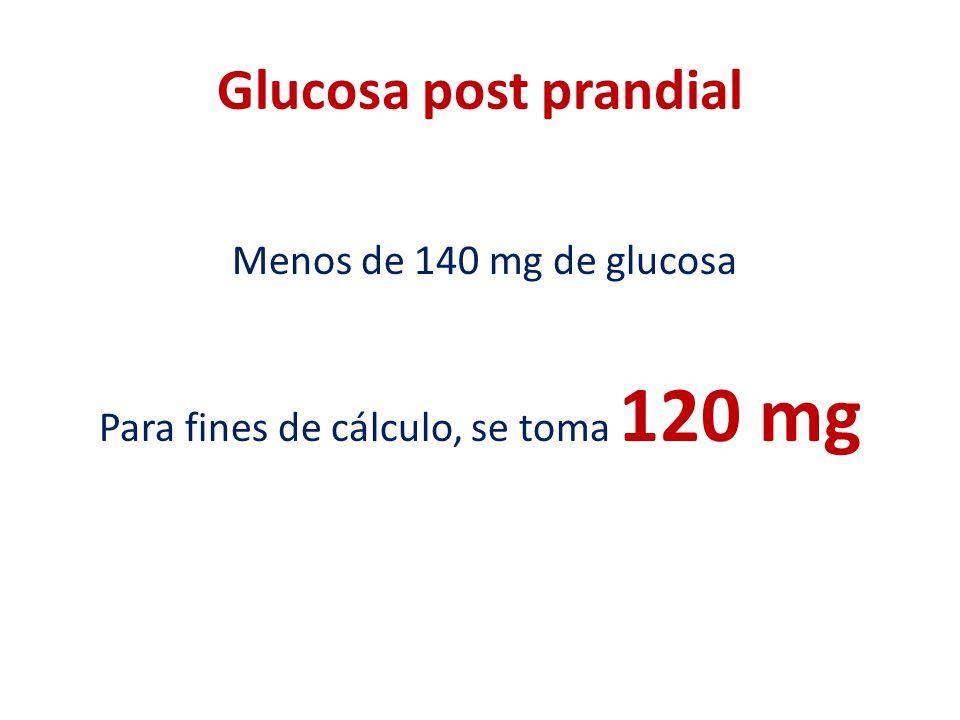 Glucosa post prandial Menos de 140 mg de glucosa Para fines de cálculo, se toma 120 mg