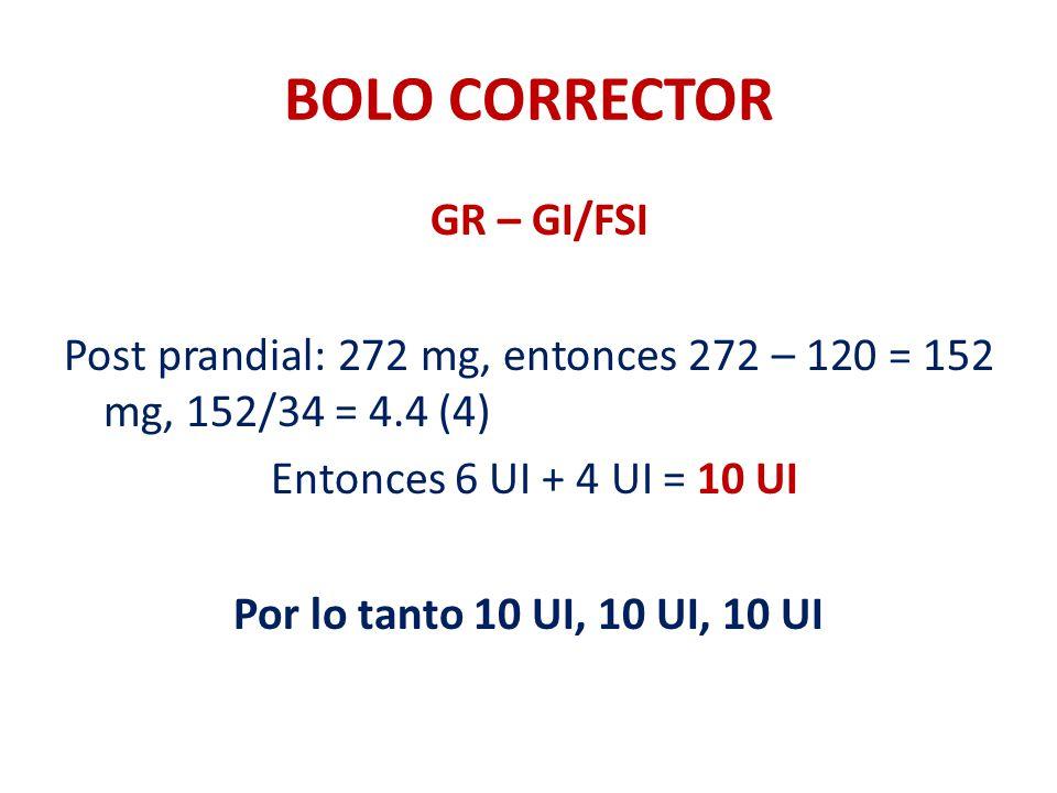 BOLO CORRECTOR GR – GI/FSI Post prandial: 272 mg, entonces 272 – 120 = 152 mg, 152/34 = 4.4 (4) Entonces 6 UI + 4 UI = 10 UI Por lo tanto 10 UI, 10 UI