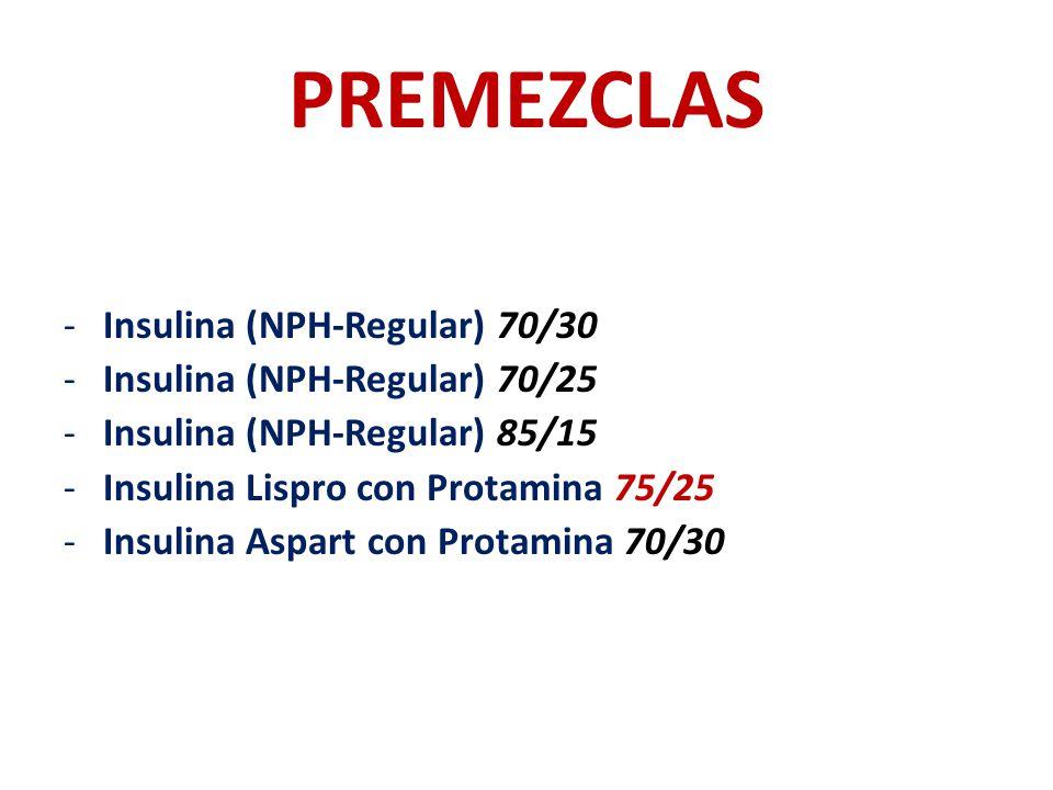 PREMEZCLAS -Insulina (NPH-Regular) 70/30 -Insulina (NPH-Regular) 70/25 -Insulina (NPH-Regular) 85/15 -Insulina Lispro con Protamina 75/25 -Insulina As