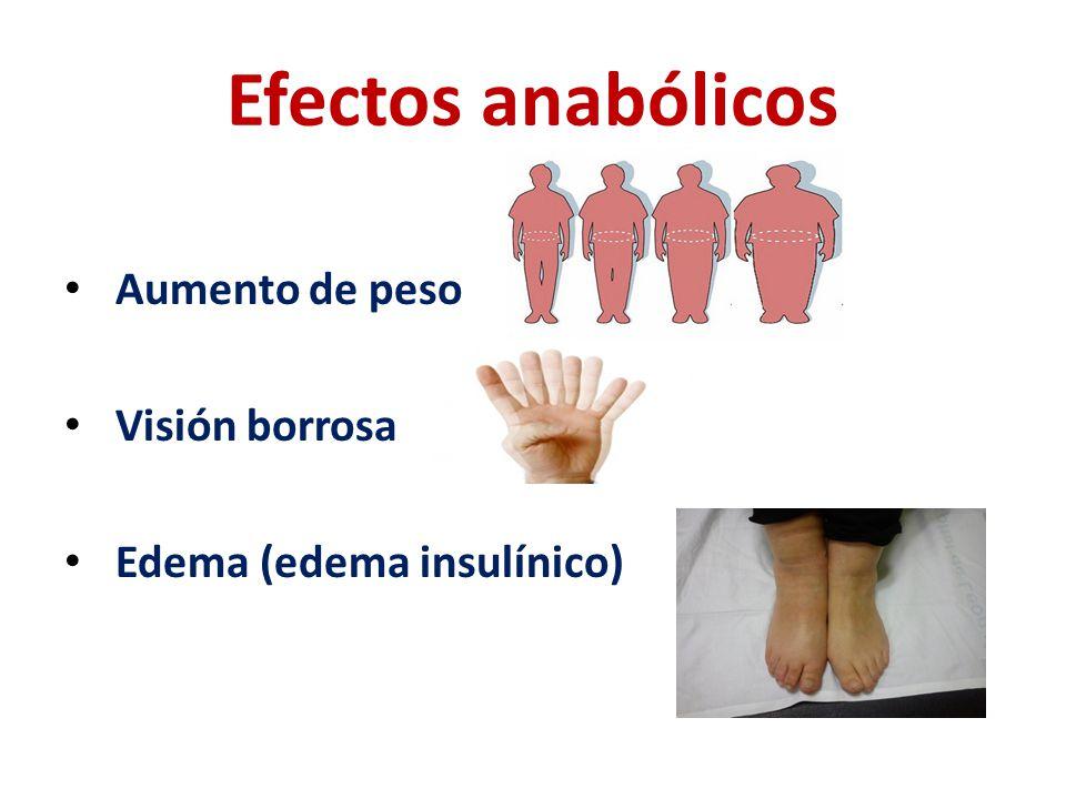 Efectos anabólicos Aumento de peso Visión borrosa Edema (edema insulínico)