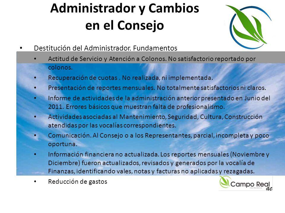 Administrador y Cambios en el Consejo Destitución del Administrador. Fundamentos Actitud de Servicio y Atención a Colonos. No satisfactorio reportado