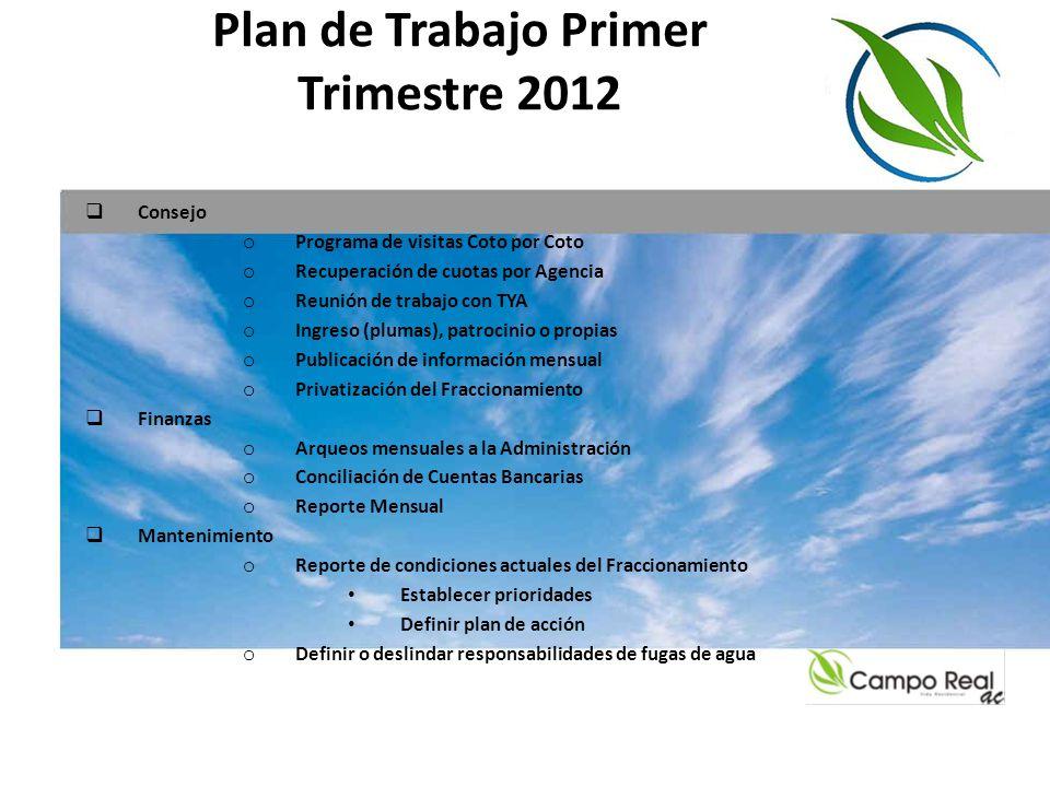 Plan de Trabajo Primer Trimestre 2012 Consejo o Programa de visitas Coto por Coto o Recuperación de cuotas por Agencia o Reunión de trabajo con TYA o