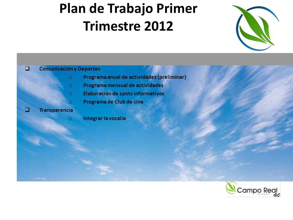 Plan de Trabajo Primer Trimestre 2012 Comunicación y Deportes o Programa anual de actividades (preliminar) o Programa mensual de actividades o Elabora