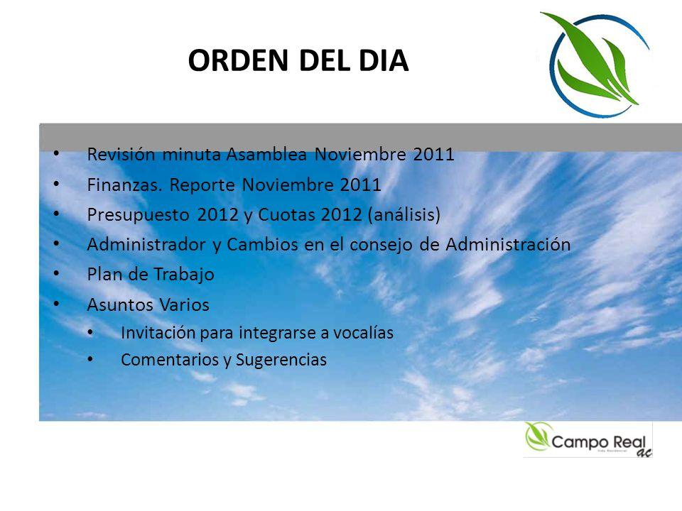 ORDEN DEL DIA Revisión minuta Asamblea Noviembre 2011 Finanzas. Reporte Noviembre 2011 Presupuesto 2012 y Cuotas 2012 (análisis) Administrador y Cambi