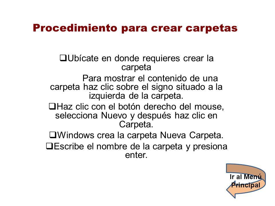 Procedimiento para crear carpetas Ubícate en donde requieres crear la carpeta Para mostrar el contenido de una carpeta haz clic sobre el signo situado