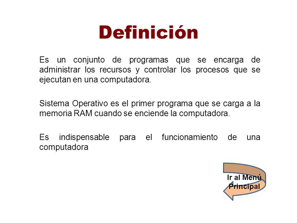 Definición Es un conjunto de programas que se encarga de administrar los recursos y controlar los procesos que se ejecutan en una computadora. Sistema