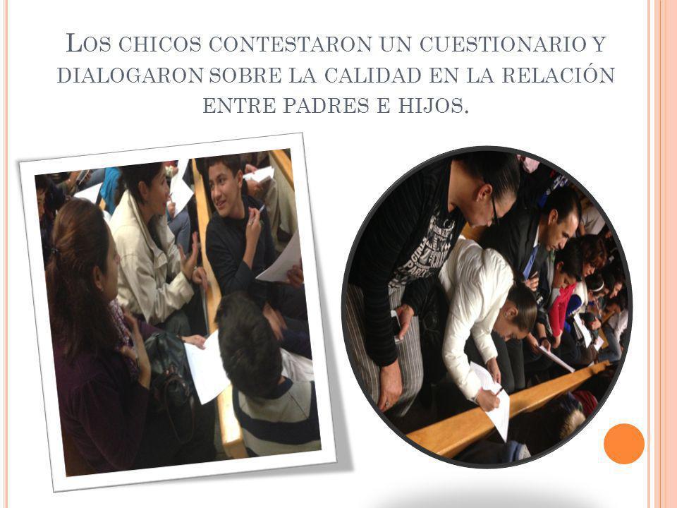L OS CHICOS CONTESTARON UN CUESTIONARIO Y DIALOGARON SOBRE LA CALIDAD EN LA RELACIÓN ENTRE PADRES E HIJOS.