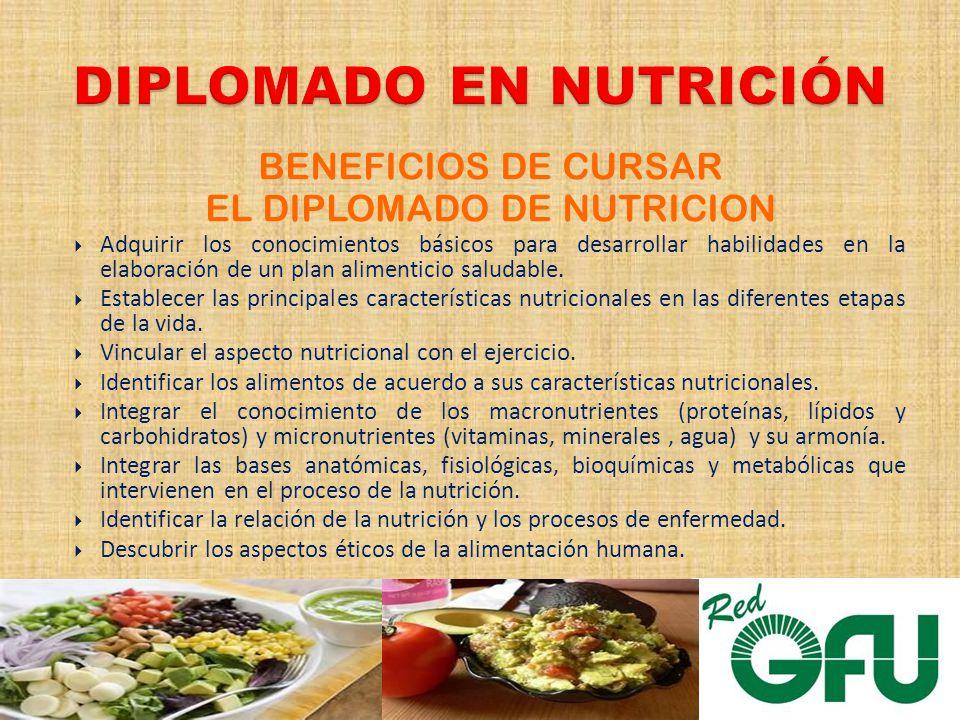 BENEFICIOS DE CURSAR EL DIPLOMADO DE NUTRICION Adquirir los conocimientos básicos para desarrollar habilidades en la elaboración de un plan alimenticio saludable.
