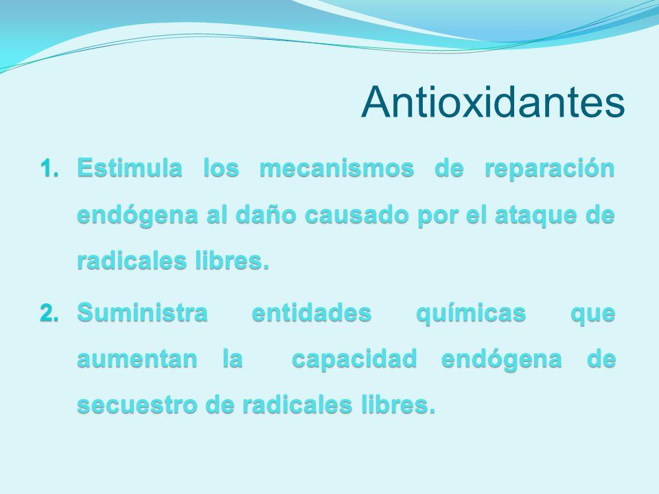 Antioxidantes 1. Estimula los mecanismos de reparación endógena al daño causado por el ataque de radicales libres. 2. Suministra entidades químicas qu