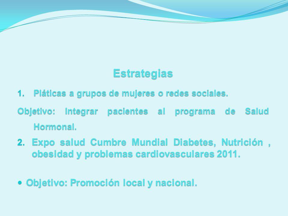 Estrategias 1. Pláticas a grupos de mujeres o redes sociales. Objetivo: Integrar pacientes al programa de Salud Hormonal. 2. Expo salud Cumbre Mundial