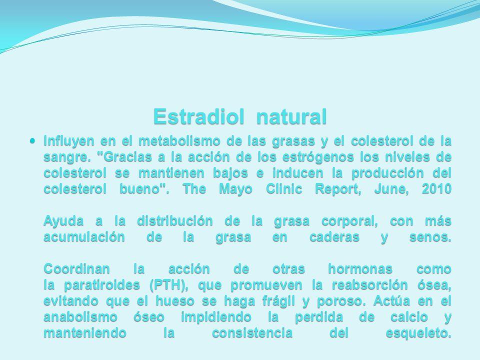 Estradiol natural Influyen en el metabolismo de las grasas y el colesterol de la sangre.