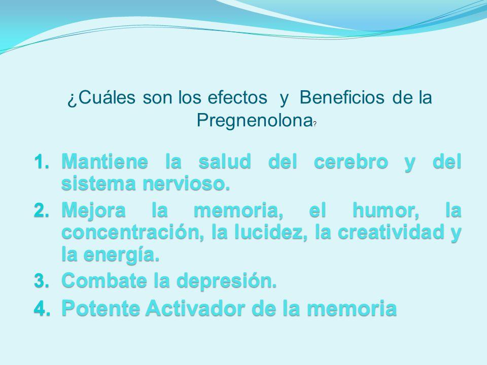 1. Mantiene la salud del cerebro y del sistema nervioso. 1. Mantiene la salud del cerebro y del sistema nervioso. 2. Mejora la memoria, el humor, la c