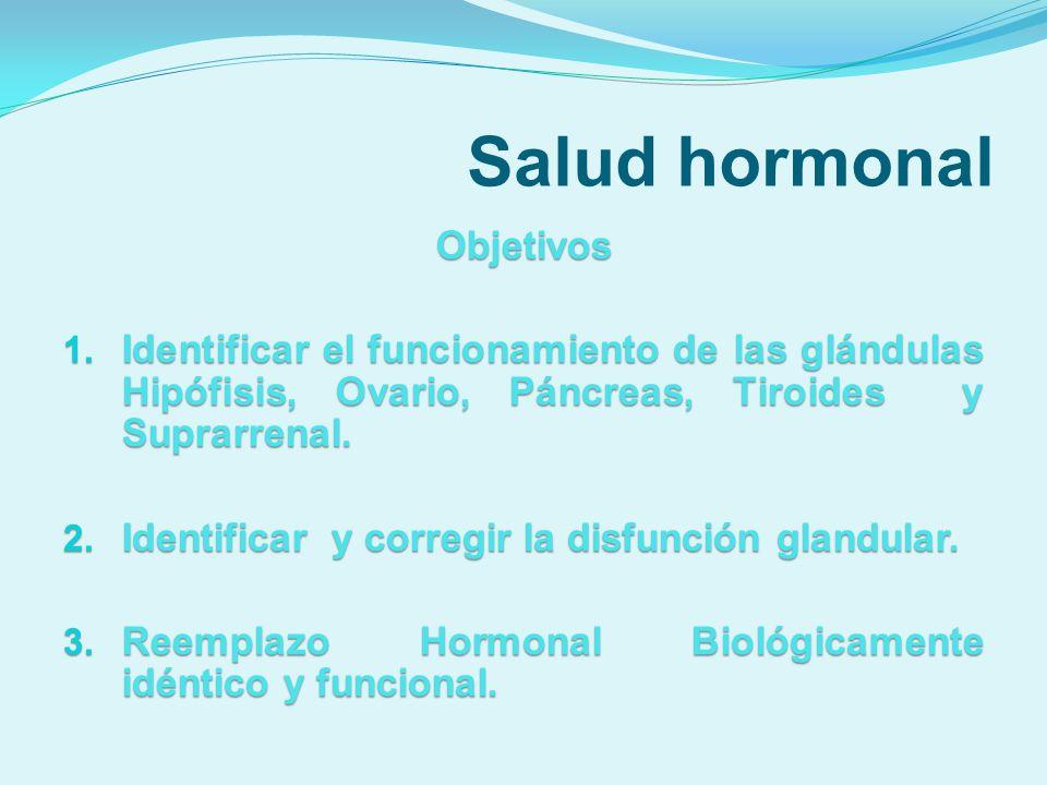 Salud hormonal Objetivos Integrar en el tratamiento nutrientes y antioxidantes de origen natural.