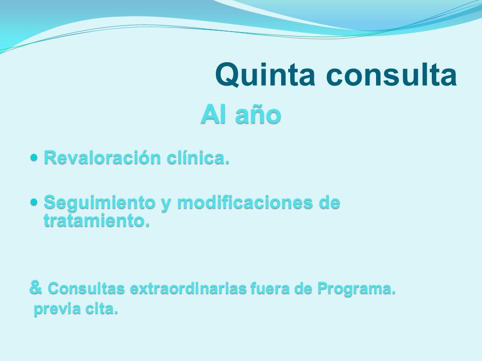Quinta consulta Al año Revaloración clínica. Revaloración clínica. Seguimiento y modificaciones de tratamiento. Seguimiento y modificaciones de tratam