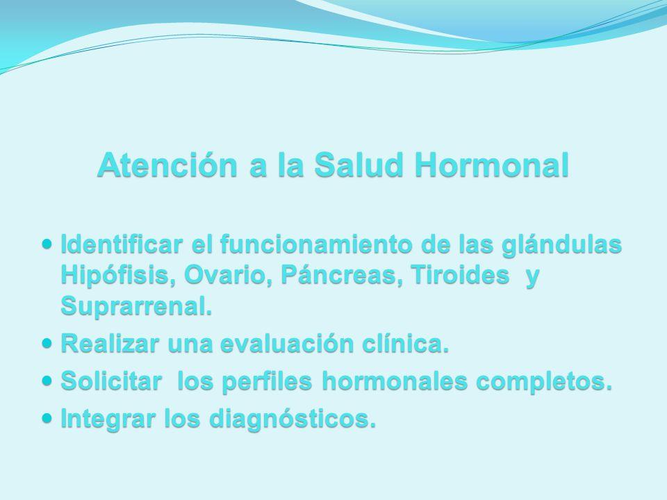Atención a la Salud Hormonal Identificar el funcionamiento de las glándulas Hipófisis, Ovario, Páncreas, Tiroides y Suprarrenal. Identificar el funcio