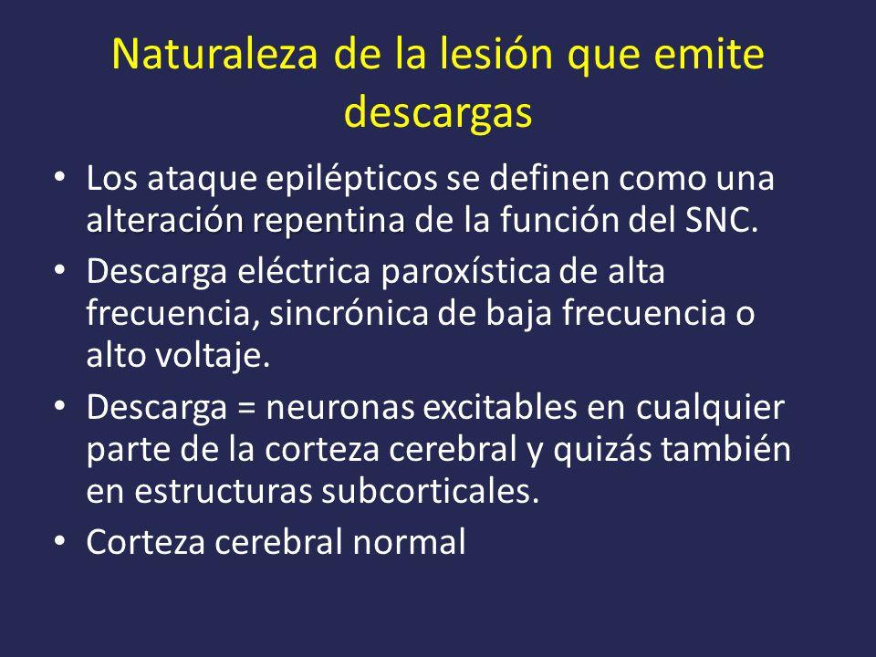 Naturaleza de la lesión que emite descargas alteración repentina Los ataque epilépticos se definen como una alteración repentina de la función del SNC.