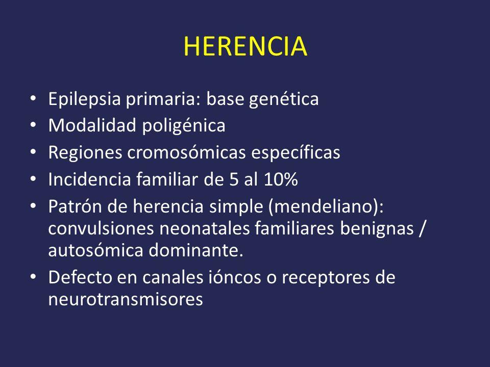 HERENCIA Epilepsia primaria: base genética Modalidad poligénica Regiones cromosómicas específicas Incidencia familiar de 5 al 10% Patrón de herencia simple (mendeliano): convulsiones neonatales familiares benignas / autosómica dominante.