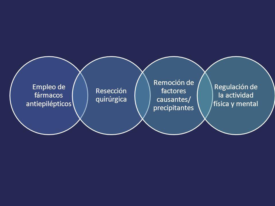 Empleo de fármacos antiepilépticos Resección quirúrgica Remoción de factores causantes/ precipitantes Regulación de la actividad física y mental